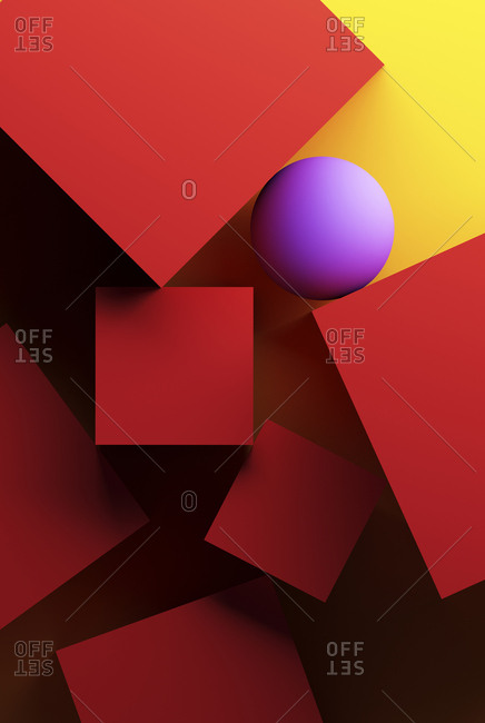 Yellow background with geometric shapes