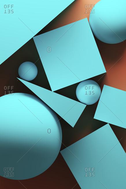 Orange background with turquoise geometric shapes