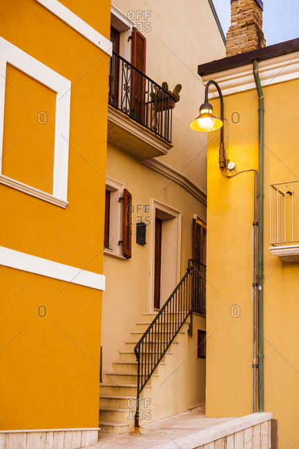 Italy- Molise- Termoli- Old town- house- orange facade- narrow