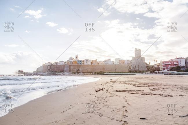 Italy- Molise- Termoli- Old town with Castello Svevo- view from beach