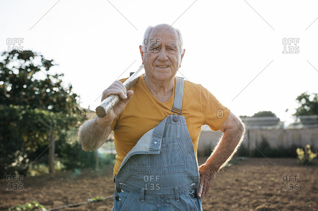 Senior man in denim overall holding garden tool on shoulder and looking at camera
