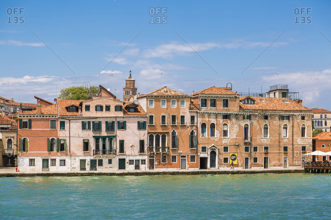 Italy- Venice- row of houses seen from the lagoon