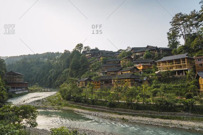 China- Guizhou- Miao settlement at the riverside