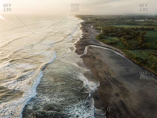 Indonesia- Bali- Aerial view of Bali island- beach in the evening