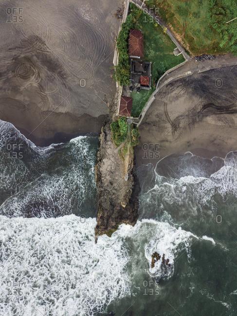 Indonesia- Bali- Aerial view of Bali island- rocky beach