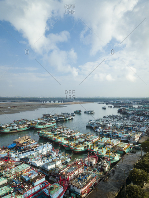 Indonesia- Bali- Aerial view of harbor with ships
