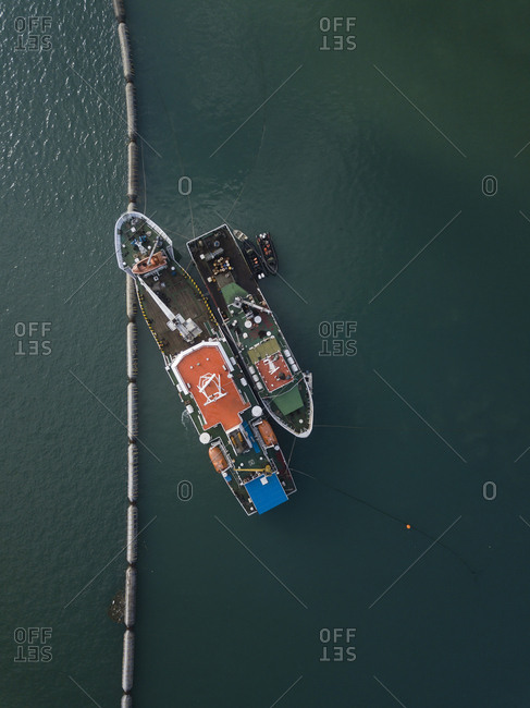 Indonesia- Bali- Aerial view of ships