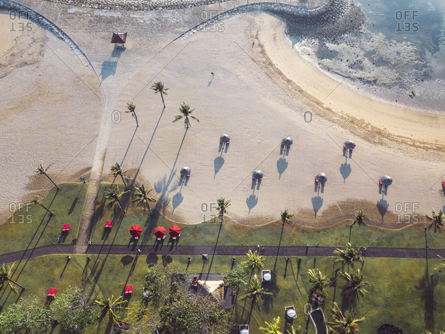 Indonesia- Bali- Aerial view of Nusa Dua beach in the morning