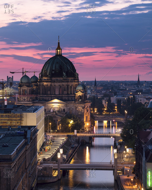 July 14, 2017: Germany- Berlin- elevated city view at morning twilight