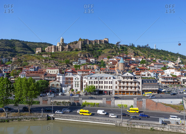 May 2, 2018: Georgia- Tbilisi- City view over Kura river- with Narikala fortress in background