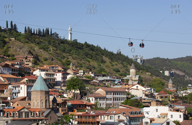 May 2, 2018: Georgia- Tbilisi- Cable car with Kartlis Deda monument