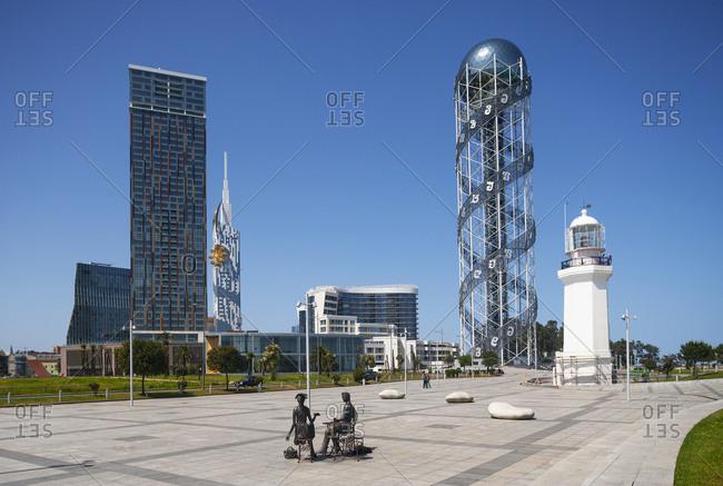 May 7, 2018: Georgia- Adjara- Batumi- Miracle Park with Alphabetic Tower and lighthouse