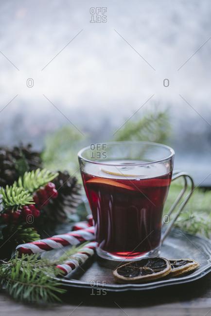 Christmas hot beverage. Mulled wine with cinnamon and anis.