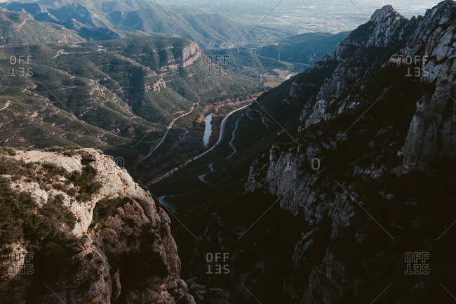 overlook of mountains and valley at Montserrat Monastery, Bages, Barcelona, Spain