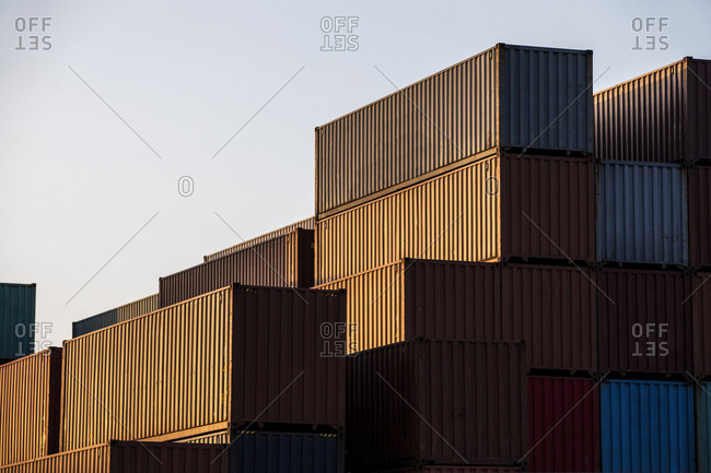 Stacks of cargo containers at industrial port