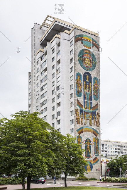 Soviet wall murals on apartment building in Minsk, Belarus