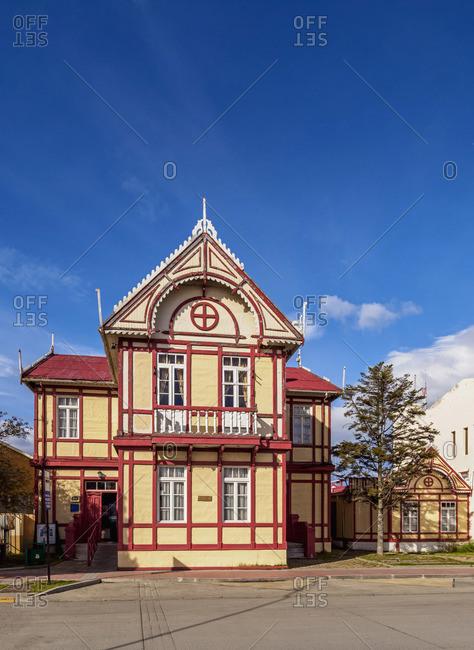 Arturo Prat Main Square, Puerto Natales, Ultima Esperanza Province, Patagonia, Chile