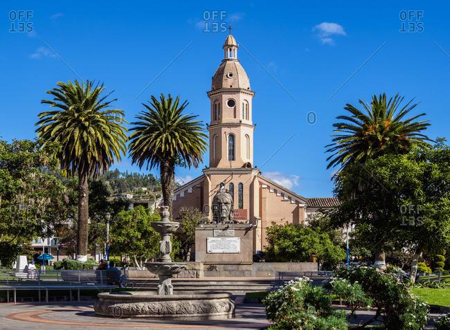 San Luis Church, Simon Bolivar Park, Otavalo, Imbabura Province, Ecuador