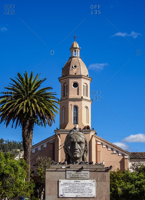 Ruminawi Monument and San Luis Church, Simon Bolivar Park, Otavalo, Imbabura Province, Ecuador