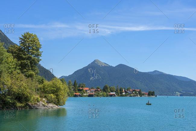 View at Walchensee with lake Walchensee, Bavaria, Germany