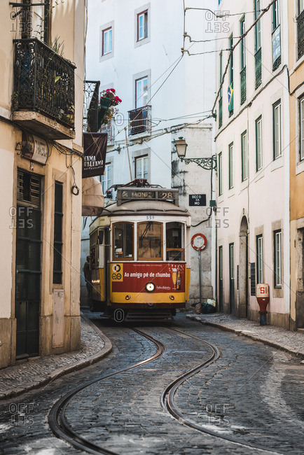 Portugal, Lisbon. The famous touristy line 28 of the Lisbon tramway in Alafama district.