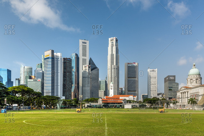 Padang field and financial district skyline, Singapore