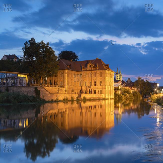 Wasserschloss Concordia (Concordia Villa) at dusk, Bamberg (UNESCO World Heritage Site), Bavaria, Germany