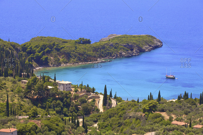 The Coastline of Kardamyli, Mani Peninsula, The Peloponnese, Greece, Southern Europe