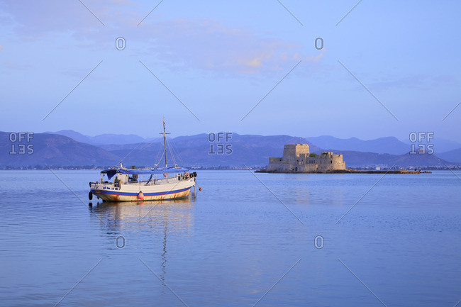 Bourtzi Castle at Sunrise, Nafplio, Argolis, The Peloponnese, Greece, Southern Europe