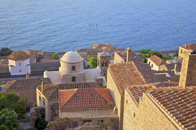 Panaghia Myrtidiotissa, Elkomenos Christos and Bell Tower, Monemvasia, Laconia, The Peloponnese, Greece, Southern Europe