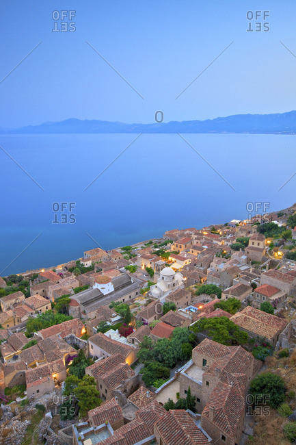 Monemvasia at Dusk, Laconia, The Peloponnese, Greece, Southern Europe