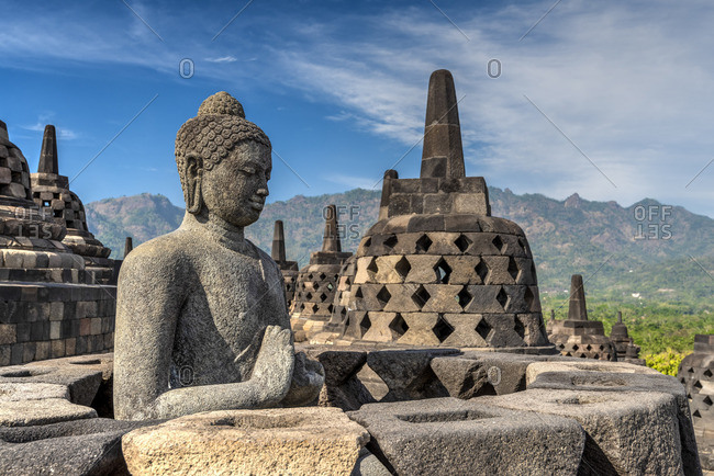 Buddha statue, Candi Borobudur buddhist temple, Muntilan, Java, Indonesia