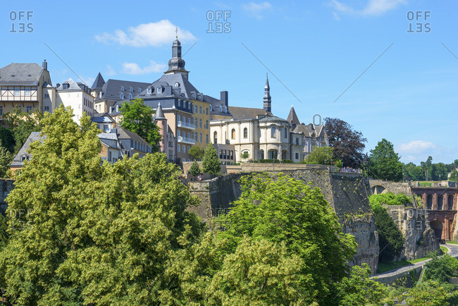 Alzette valley with Eglise St. Michel, Luxembourg