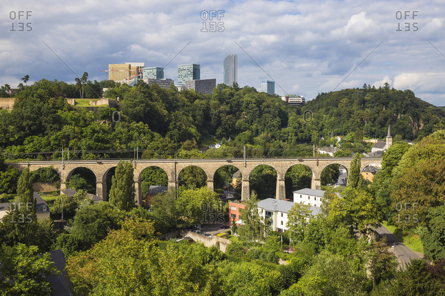 Luxembourg, Luxembourg City, View of Pfaffenthal train viaduct and Kirchberg plateau