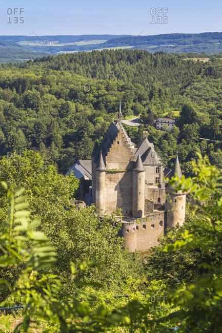 Luxembourg, Vianden, View of Vianden Castle