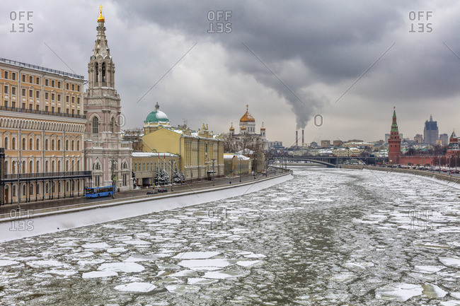 Winter cityscape with Moskva river, Moscow, Russia