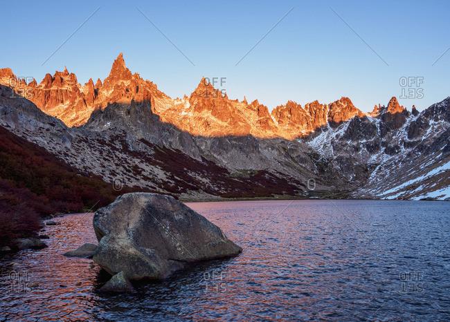 Toncek Lagoon and Cerro Catedral at sunrise, Nahuel Huapi National Park, Rio Negro Province, Argentina