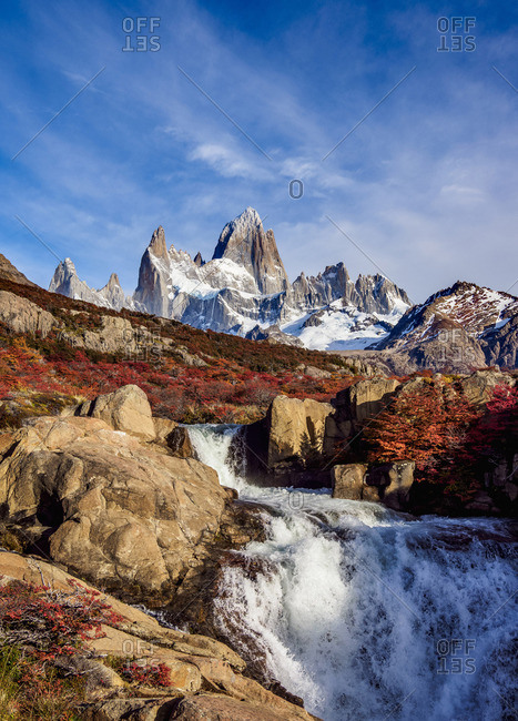 Waterfall on Arroyo del Salto and Mount Fitz Roy, Los Glaciares National Park, Santa Cruz Province, Patagonia, Argentina