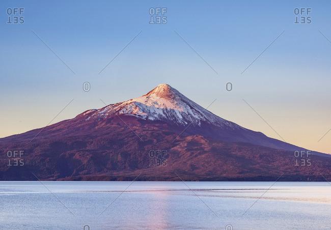 Osorno Volcano and Llanquihue Lake at sunset, Llanquihue Province, Los Lagos Region, Chile
