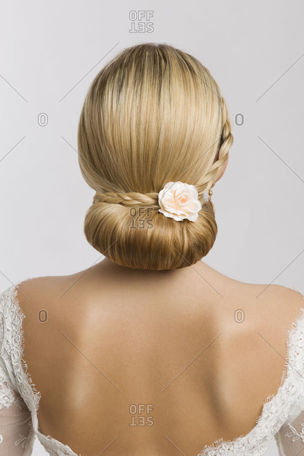 Young woman, bride, bridal hairstyle, rose