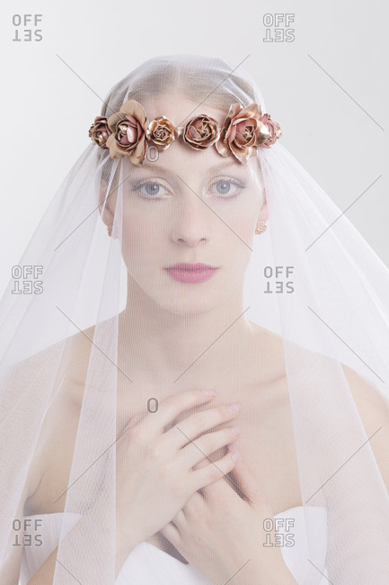Young woman, bride, wedding dress, veil, floral wreath