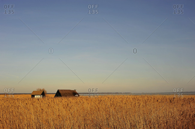 Old fishing hut at the Bodden of the Baltic Sea with Wustrow.