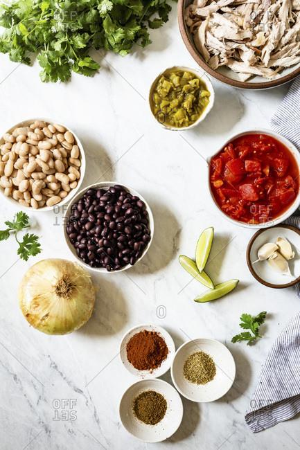 Ingredients for chicken chili