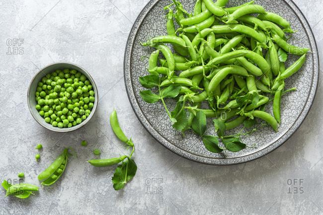 Fresh green organic peas.