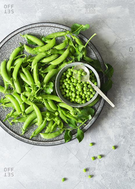 Freshly picked organic green peas.