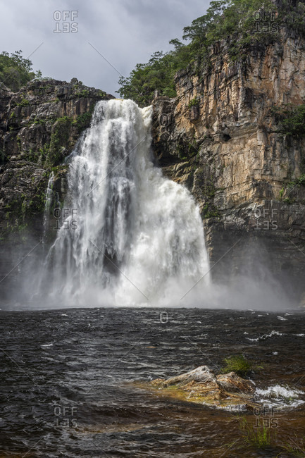 Majestic natural scenery with waterfall, Chapada dos Veadeiros, Goias, Brazil