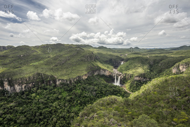 Beautiful natural scenery with waterfalls seen from Mirante da Janela peak in Chapada dos Veadeiros, Goias, Brazil