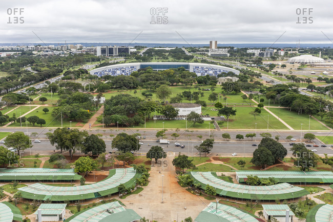 April 17, 2018: Aerial view from TV Tower to buildings in city of Brasilia, Brazil