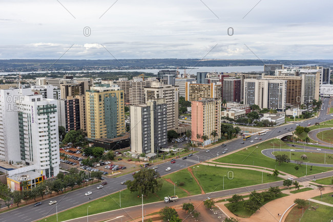 April 17, 2018: View of city and skyscrapers from TV Tower in central Brasilia, Brazil