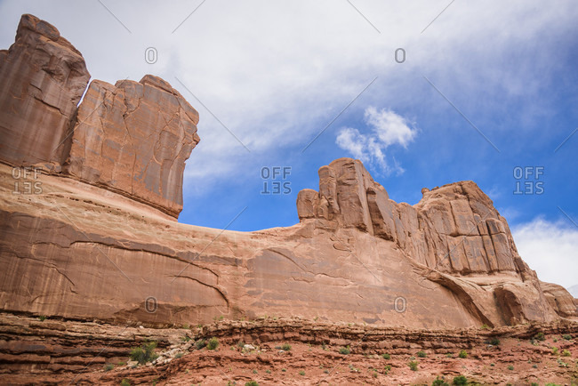 Landscape with eroded rock formations, Arches National Park, Utah, USA